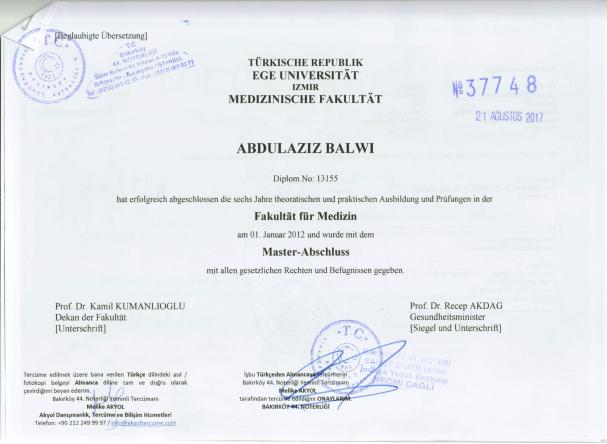 Dr. Balwi: Master Diplom