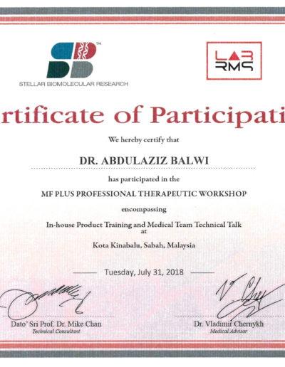 Dr. Balwi: Stellar Biomolecular Research MF Certificate of Participation